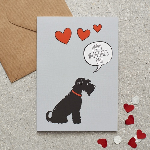 Black Schnauzer Valentines Day Card 275 Mischievous