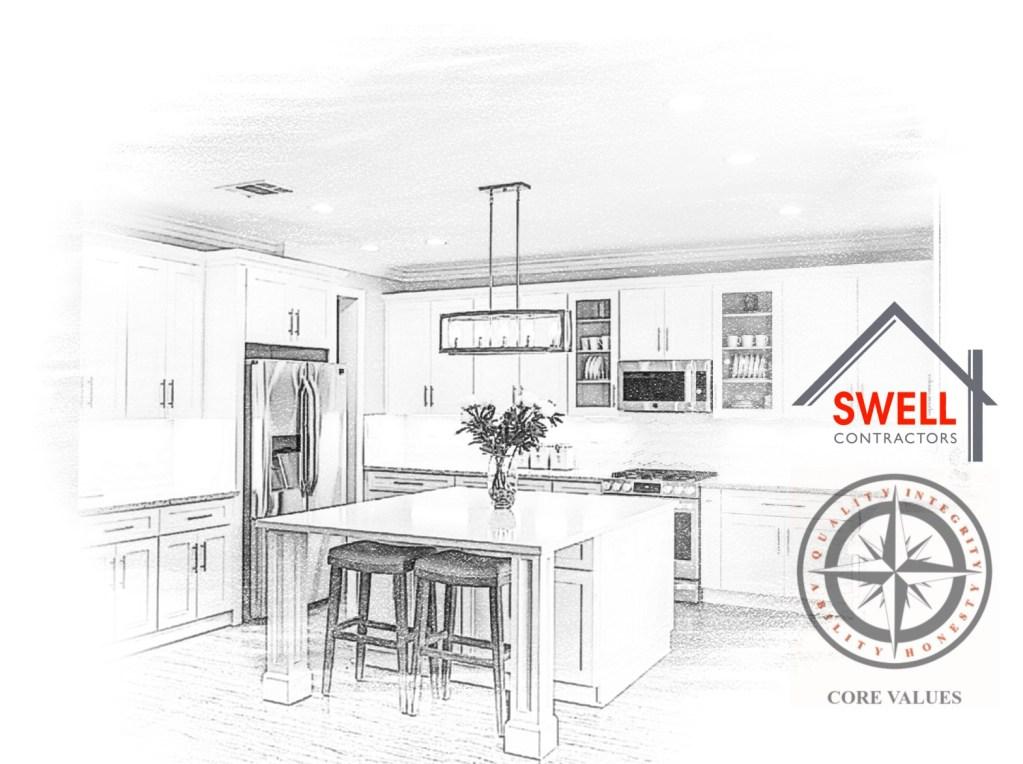 A drawing of a kitchen with Swell Contractors logo and emblem of core values.