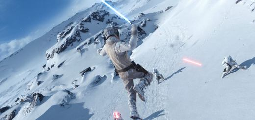 Luke attacking snowtroopers on Hoth in Battlefront.