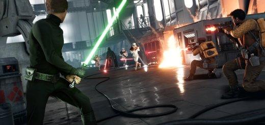 Darth Vader vs Luke Skywalker on Sullust in Battlefront.