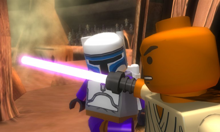 Mace Windu and Jango Fett in LEGO Star Wars.