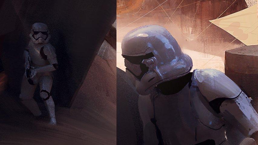 Gros plan sur les stormtroopers du concept-art