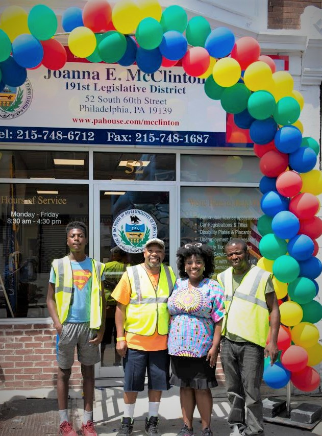 Rep. Joanna McClinton and three of her helpers at the August, 14, 60th St. Health & Wellness Jam.