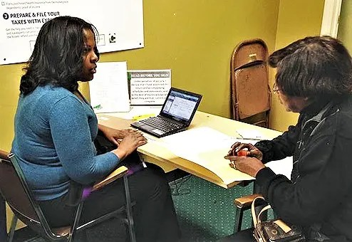 The free tax preparation at Ebenezer Baptist has aided hundreds of low-income families over the past two decades.  (Photo courtesy of CBS Local News)