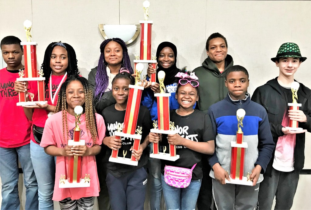 Among the Southwest students who participated in the March 2020 state chess tourney were Brooklyne Spraggins, Fanta Dukuly, Ava Moore, Naki Smith, Yasir Lee-Reeves, Mabinti Mansaray, Salyiah Benoit, Sanaila Gray, and Mitchell Elementary alumnus Derrick Moore. Mentored by Mitchell teacher Jason Bui, the team came home with trophies that attest to their outstanding performances.