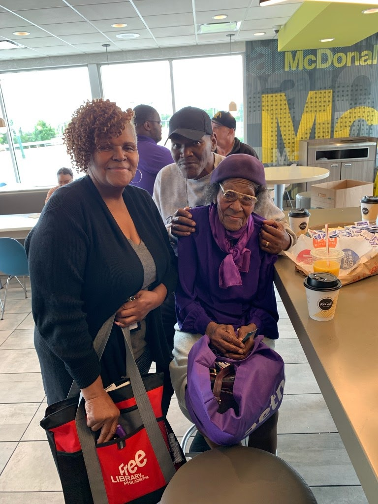 "Diane Poulson-Venn, left, a Neighborhood Ambassador, attended ""Coffee with Cops,"" hosted monthly by the 12 Police District at the neighborhood McDonald's. There, she talked with Mrs. Featherstone, a long-time Southwest Philadelphia resident and activist."