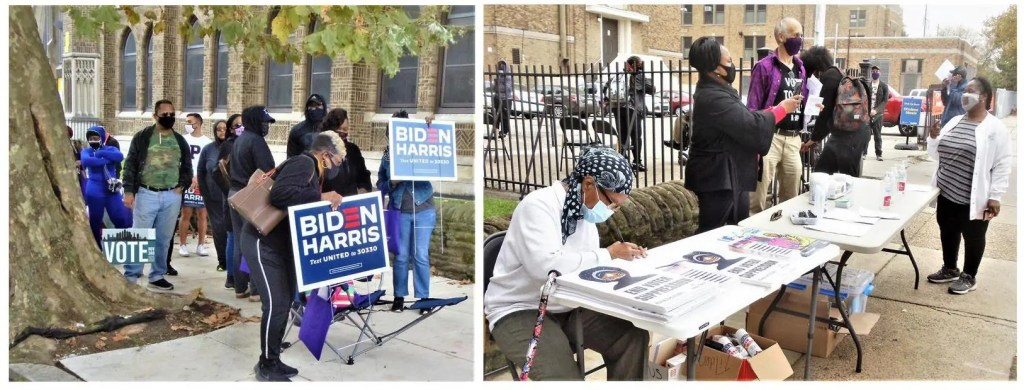 Photo on the left:   The team for Working Families Party at the city commissioner's Early Voting location at Tilden Middle School on October 26.  Mattie, Elijah and Keith look on as Sharon Harris (no relation to Kamala) snaps a photo for an eager voter waiting online to cast her ballot.   Photo on the right:   Relaxed residents chat informally as they wait in line to cast their ballots at the Early Voting Satellite location at Tilden Middle School at 66th Street and Elmwood Ave.  Candidate posters were very much in evidence.