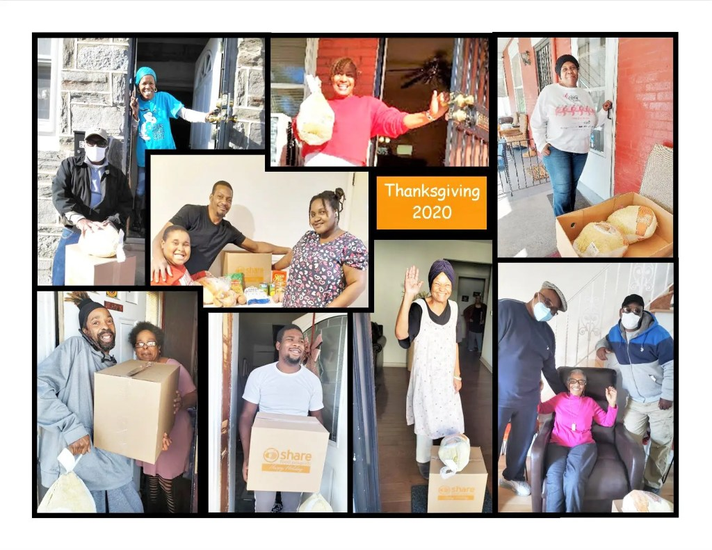 Grateful families acknowledge the delivery of turkeys supplied by SHARE and distributed through a longstanding Southwest urban/suburban partnership.
