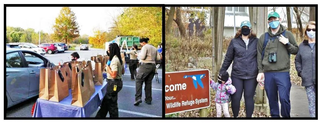 """Photo on the right: Volunteers and Friends of Heinz Wildlife Refuge at the recent """"Drive Through"""" Appreciation Day receive a nutritious meal, gifts, and grateful thanks from Refuge staff.   Photo on the left:   Area residents took advantage of the nice Thanksgiving weather to walk the broad, quiet nature trails at the Heinz National and catch glimpses of the abundant bird and other local wildlife."""