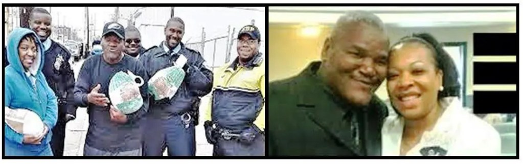 "Photo on the left:  Typical of the late Paul Moore's untiring efforts to overcome hunger were his annual ""Turkey Runs"" (above, with 12th Police District supporters) and ""24-hour Food-a-Thons"" often kicked off at 70th & Woodland, now named ""Paul 'Earthquake' Moore Way"" in his honor (Globe Times photo).  Photo on the right: Paul ""Earthquake"" Moore and his wife Crystal at New Fellowship Missionary Baptist Church where he was assistant pastor."