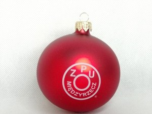 producent bombek, bombki z logo, bombka czerwona ZPU