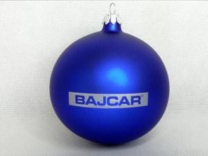 bombki z logo, producent bombek, bombka niebieska Bajcar