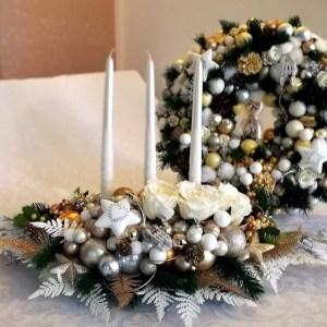 Stroik świąteczny i wianek komplet Magiczny wieczór roz. L