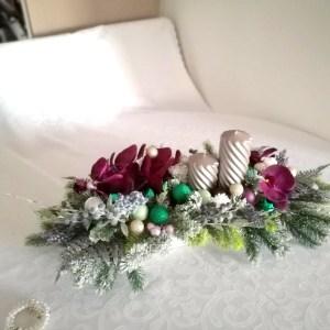 Fioletowy stroik na stół, Zestaw świąteczny fioletowe bogactwo