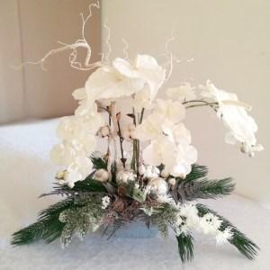 Śnieżny stroik ze storczykiem Poranny Szron