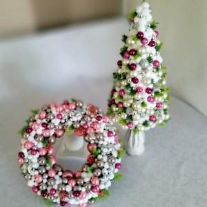 Wianek świąteczny różowy i stroik nr. 117