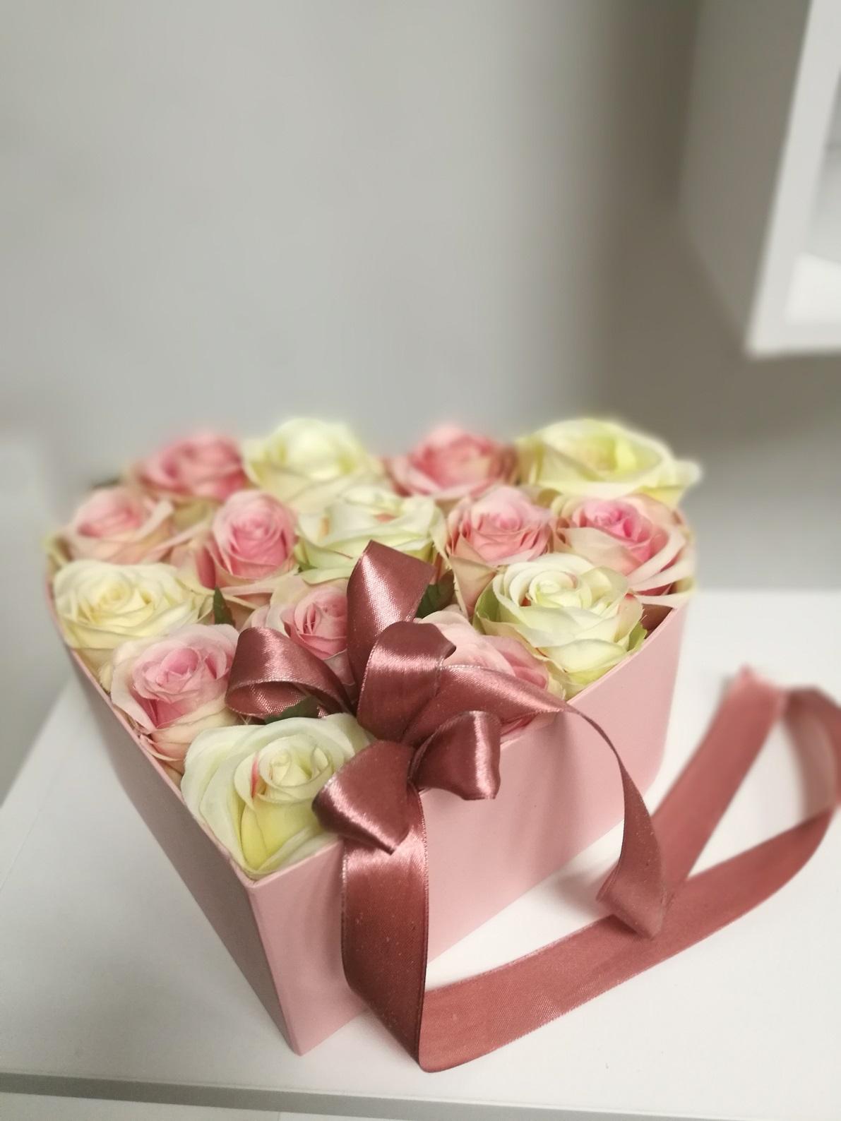 Flower box serce roz. M nr. 135
