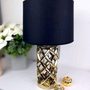 Elegancka lampa stołowa stare złoto