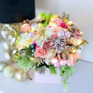 Świąteczny flowerbox pudrowy róż nr 249