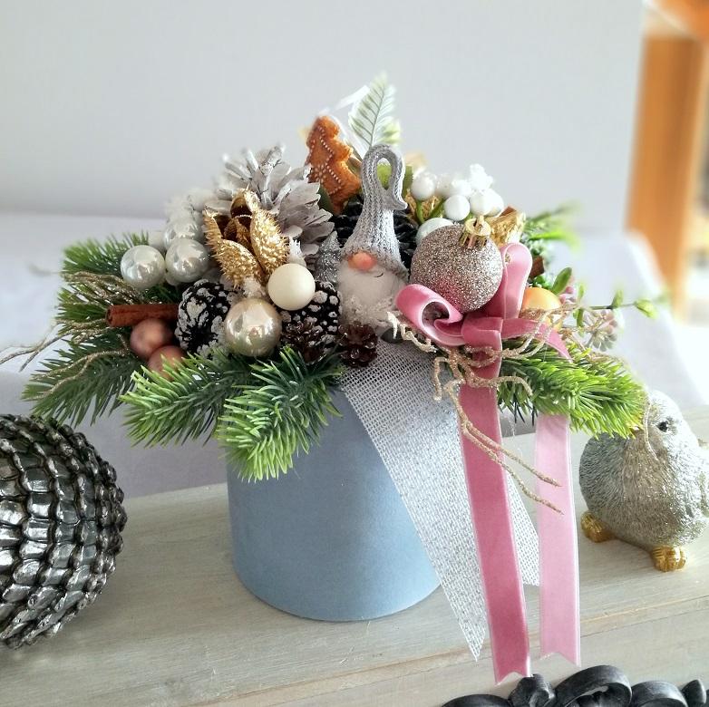 Dekoracja świąteczna w błękicie box roz. S nr 218