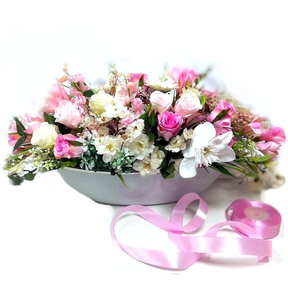 Kompozycja kwiatowa różowo biała nr 293