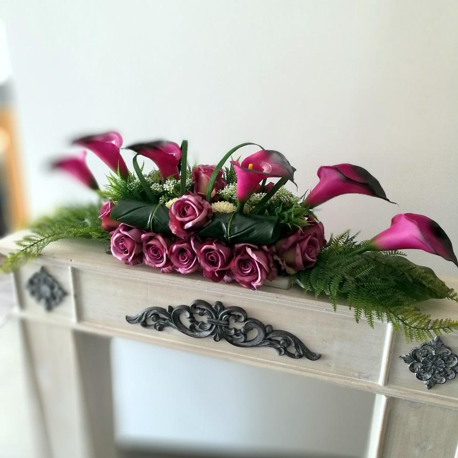Stroik nagrobny w fiolecie roz M nr. 304