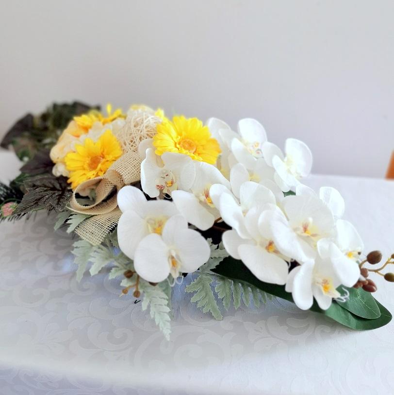 Stroik nagrobny Storczyki i żółte gerbery nr 318