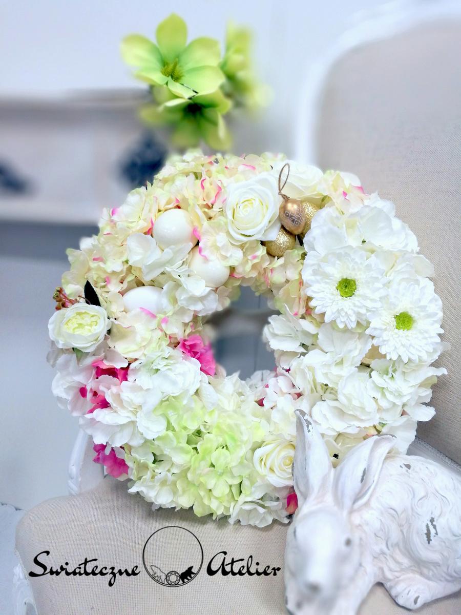 Wianek z hortensji biało kremowy nr 168