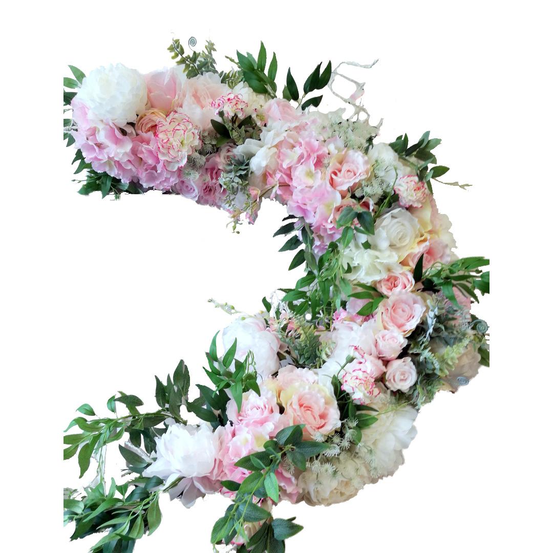 Girlanda kwiatowa biało różowa