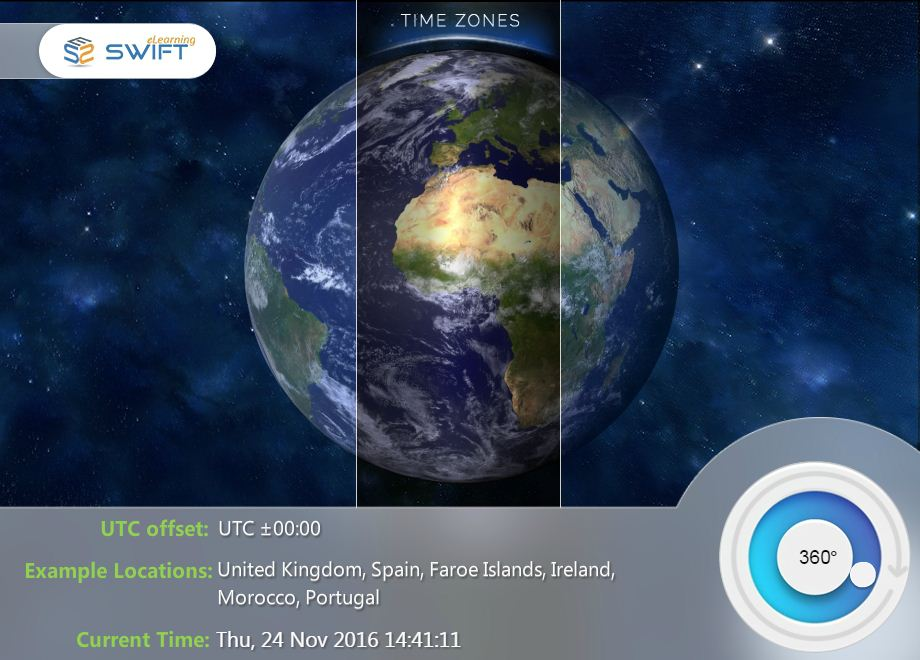 Swift eLearning Time Zones With Dial - Storyline 360