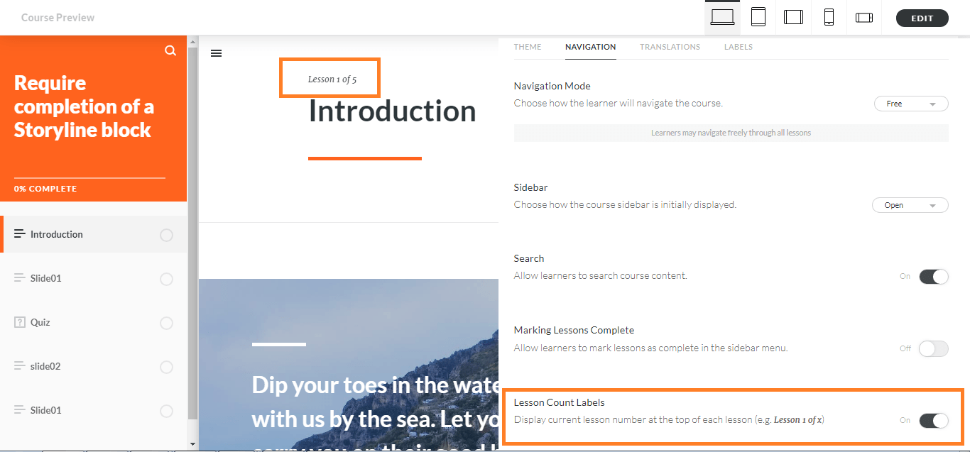 Articulate Rise – Feature Review: Turn OFF pagination, previous and next buttons