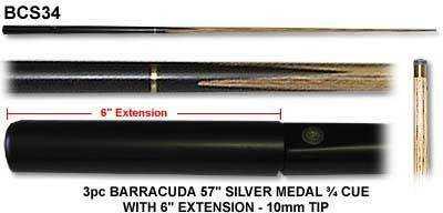 """3/4 ASH CUE BARRACUDA SILVER MEDAL 57"""" 10mm TIP"""
