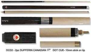 "2 PIECE MAPLE CUE DUFFERIN CANADIAN DOT 57"" 10mm TIP"