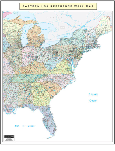 Detailed road maps of all states showing all cities and attractions. Eastern United States Executive City County Wall Map