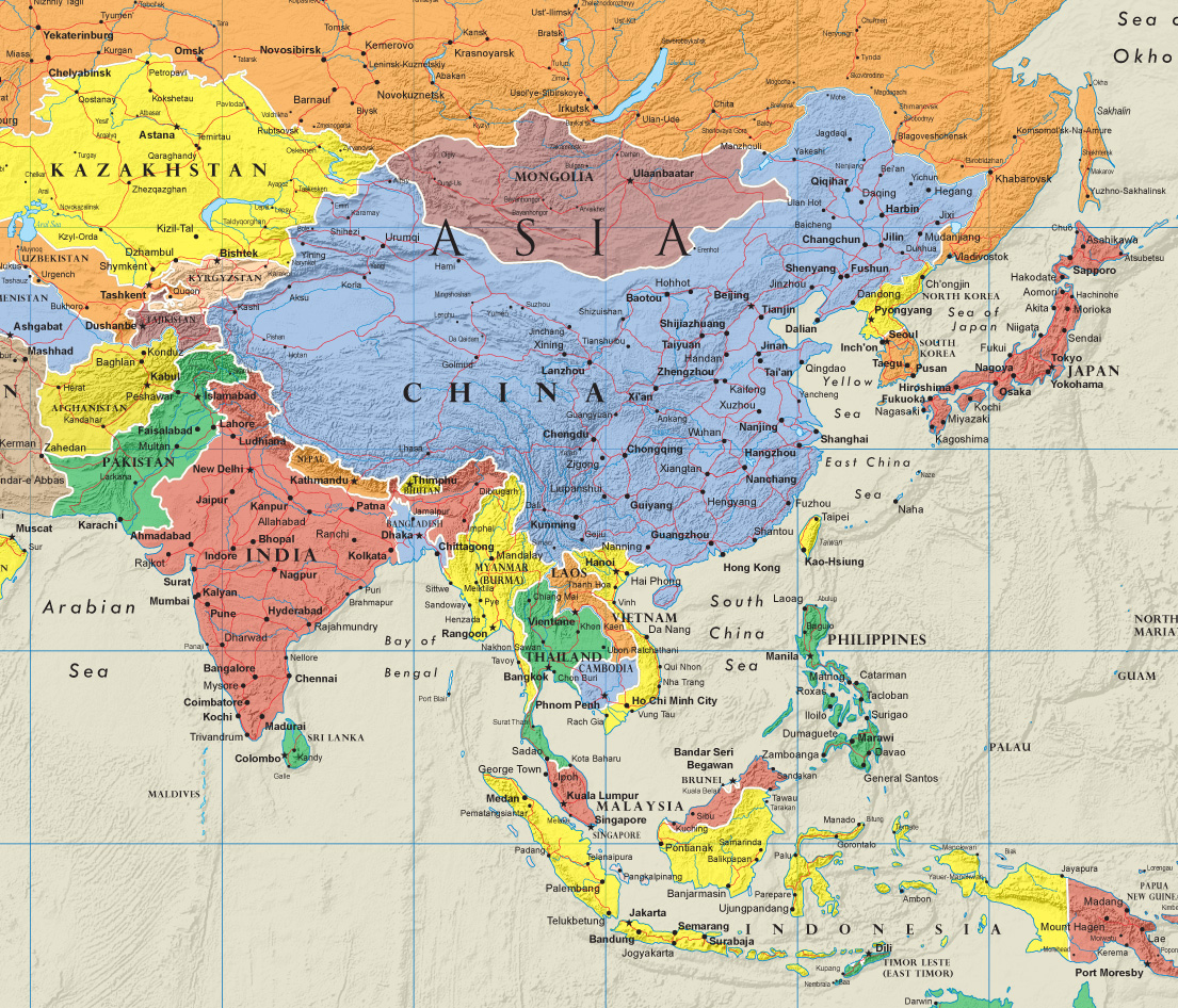 Contemporary Elite World Wall Map Poster Mural