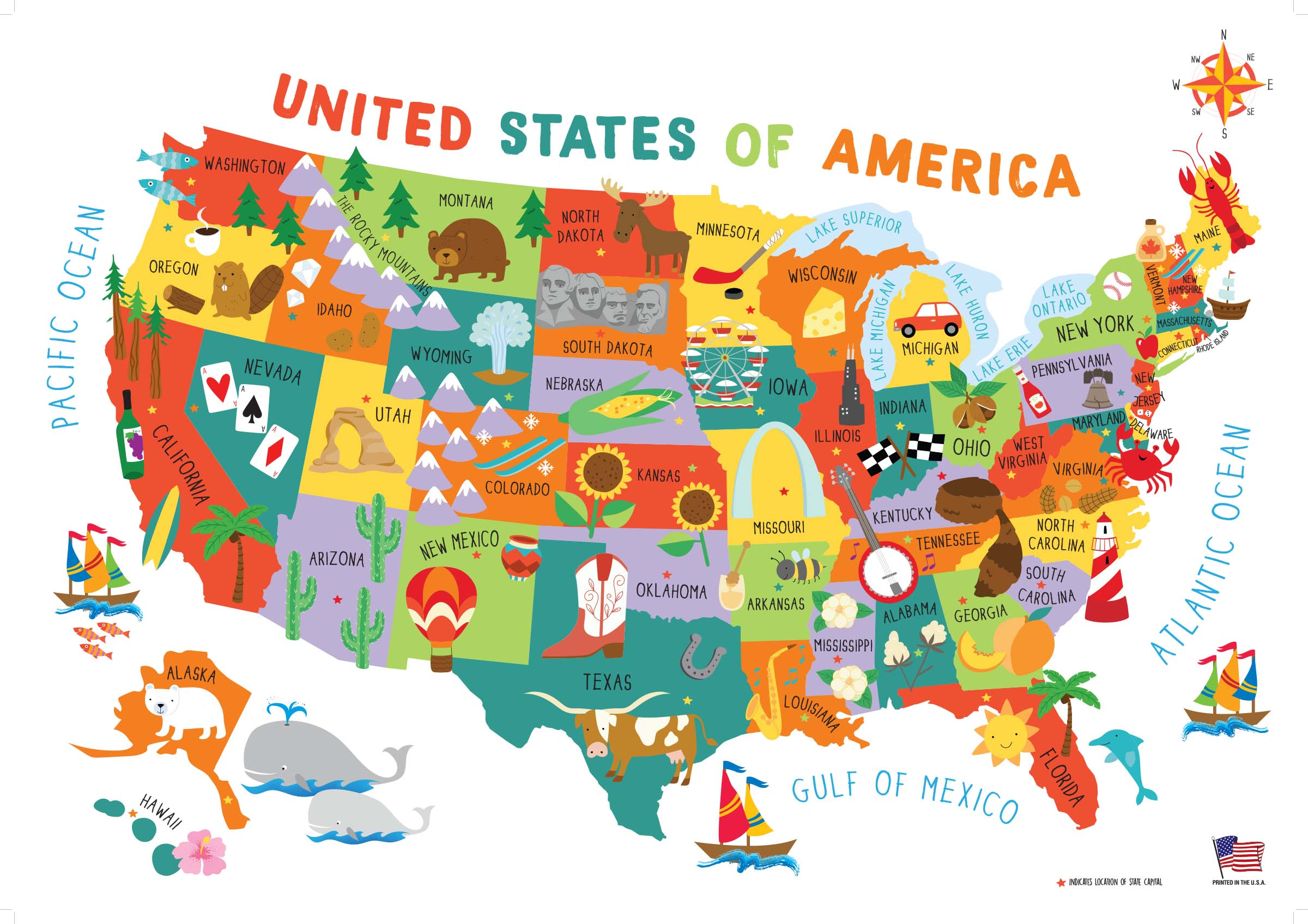 Children S United States Us Usa Wall Map For Kids 28x40