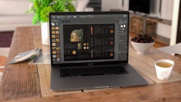 Macbook with Swift Publisher and with art catalogue design