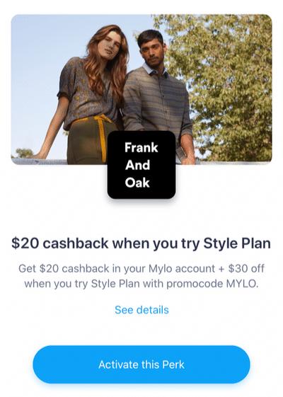 Mylo cashback frank and oak perk