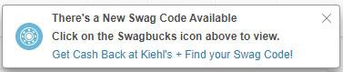 Swagbucks swag code popup