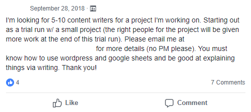 I'm looking for 5-10 content writers for a project I'm working on. Starting out as a trial run w/ a small project (the right people for the project will be given more work at the end of this trial run). Please email me at _ for more details. You must know how to use wordpress and google sheets and be good at explaining things via writing. Thank you!