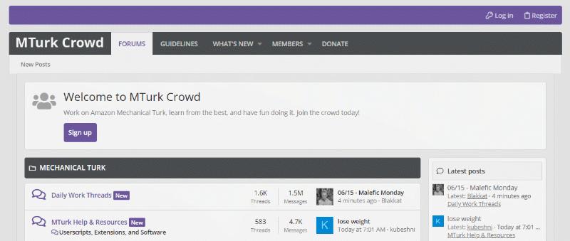 MTurk Crowd forum homepage