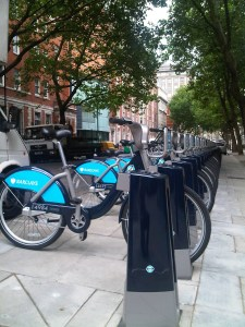Cycle hire docking station outside the office