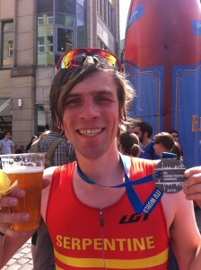 Proudly displaying my medal and the all important alcohol-free beer!
