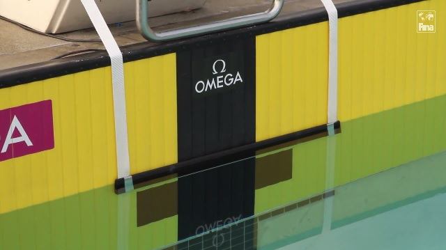 Natalie Coughlin and Aaron Peirsol test the Omega Backstroke Start Device