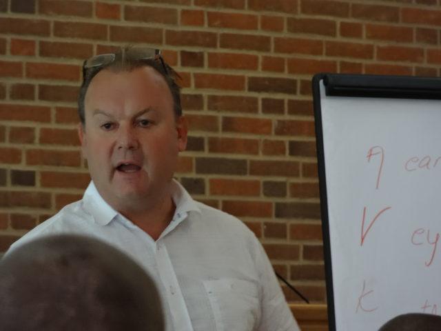 Frank Pedersen speaking at the 2012 Aqua Clinic in Holstebro, Denmark