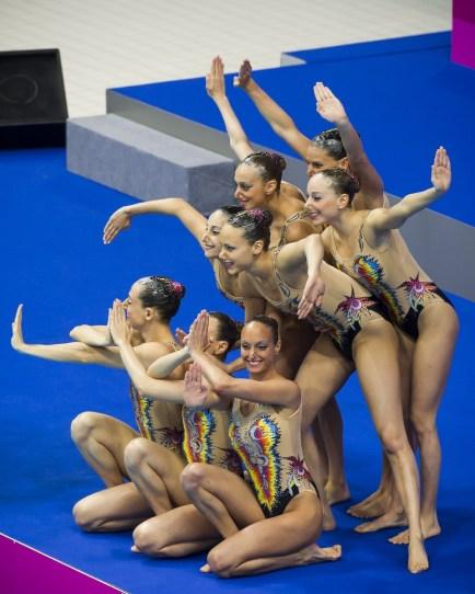 Team ITA bronze medal London, Queen Elizabeth II Olympic Park Pool LEN 2016 European Aquatics Elite Championships Synchro Team technical final Day 01 09-05-2016 Photo Giorgio Perottino/Deepbluemedia/Insidefoto