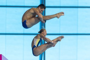 PROKOPCHUK Iuliia DOLGOV Maksym UKR gold medal London, Queen Elizabeth II Olympic Park Pool LEN 2016 European Aquatics Elite Championships Diving Mixed synchronised platform final Day 06 14-05-2016 Photo Giorgio Perottino/Deepbluemedia/Insidefoto