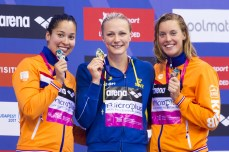 Podium SJOESTROEM Sarah SWE gold medal, KROMOWIDJOJO Ranomi NED silver medal, HEEMSKERK Femke NED bronze medal London, Queen Elizabeth II Olympic Park Pool LEN 2016 European Aquatics Elite Championships Swimming Men's 1500m freestyle final Day 10 18-05-2016 Photo Giorgio Perottino/Deepbluemedia/Insidefoto