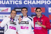 200 I.M. men podium (L to R) Nevo Gal ISR: Andreas VAZAIOS GRE; Alexis MANAKAS SANTOS POR 200 I.M. Infdividual Medley men podium London, Queen Elizabeth II Olympic Park Pool LEN 2016 European Aquatics Elite Championships Swimming day 03 finals Day 10 18-05-2016 Photo Giorgio Scala/Deepbluemedia/Insidefoto