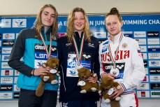 Podium 200 Backstroke Women Final LEN 43rd Arena European Junior Swimming Championships Hodmezovasarhely, Hungary Day02 07-07-2016 Photo Andrea Masini/Deepbluemedia/Insidefoto